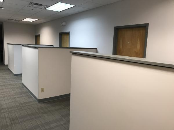 Cubicles outside enclosed offices