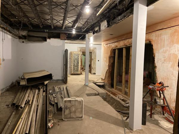Basement will feature mens' and womens' bathrooms and a well laid out area for kitchen prep with possible large walk-in refrigeration room. The front portion of the basement will be an ideal speakeasy-type gathering space.