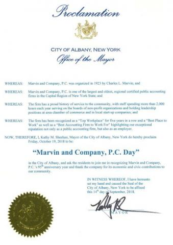 City of Albany Proclamation in honor of Marvin and Company, P.C.'s 95th Anniversary