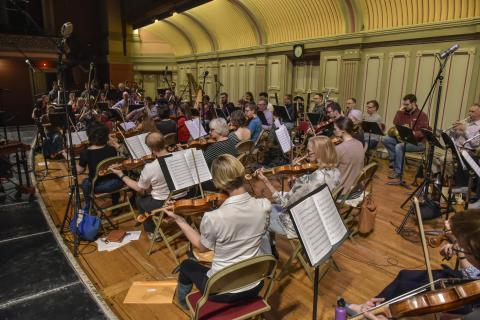 The Albany Symphony rehearses at the Troy Savings Bank Music Hall.  Photo Credit Gary Gold Photography