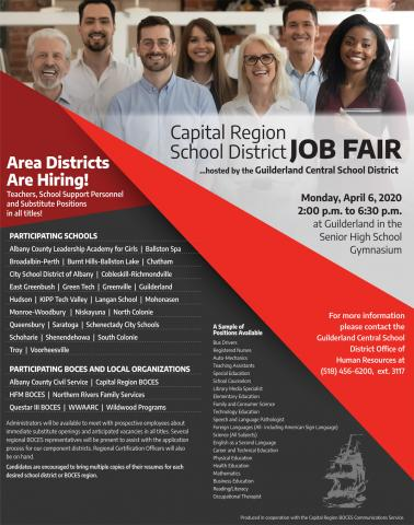 Capital Region School District Job Fair flyer